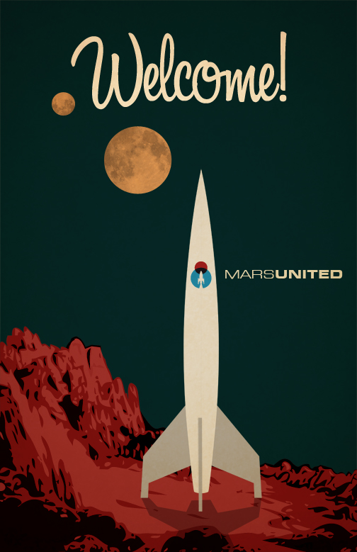 Airline To Mars: Retro Posters by Andy Rohr | blurppy