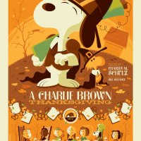"Dark Hall Mansion Announces A Very Special Tom Whalen Peanuts Print: ""A Charlie Brown Thanksgiving"""