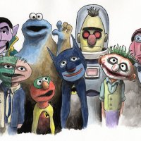 Batman / Sesame Street Mash Up