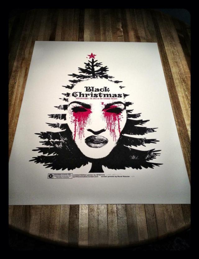 """Black Christmas"" Limited edition poster for the 12/7/2012 ""Black Christmas"" screening at The Colonial Theatre. 19x25 2-color screen print on French Paper Speckletone True White cover stock. Signed and numbered to 20. SOLD OUT!"