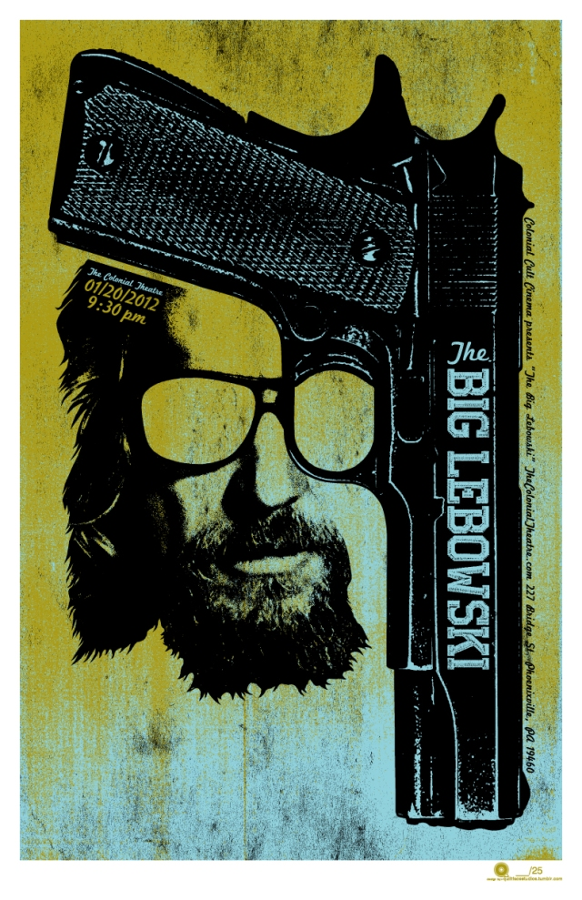 "The Dude Abides!  Poster design for a screening of The Big Lebowski on 1.20.2012 at The Colonial Theatre in Phoenixville, PA.11x17 satin print on 70lb matte finish cardstock 25-signed and numbered 1-25 25 ""Abide""-signed and numbered 1A-25A"