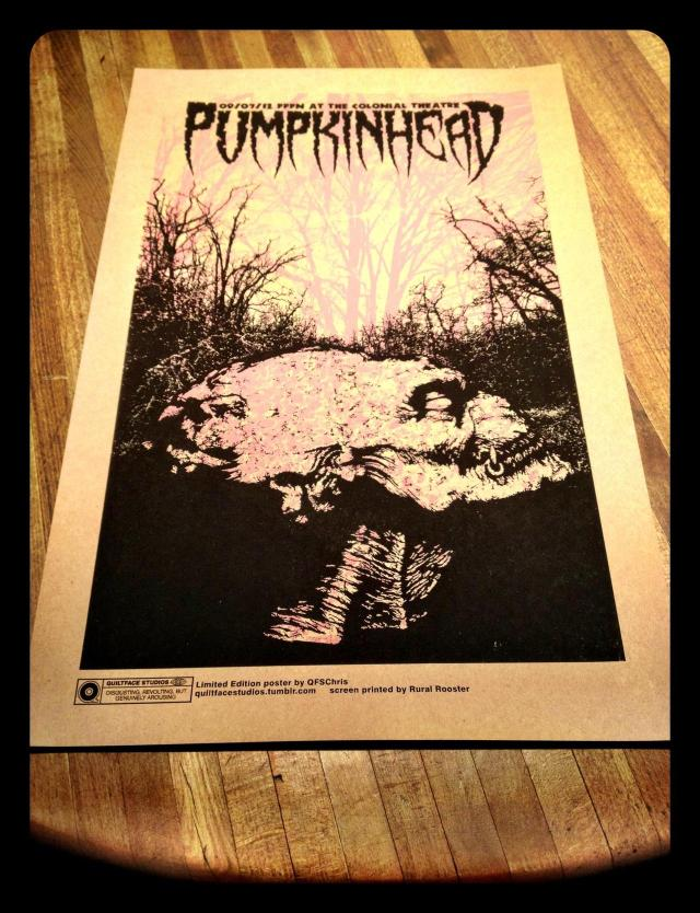 """Pumpkinhead"" ar The Colonial Theatre limited edition poster. Poster is a 12.5x19 2-color screen print on French Paper Kraft 100# cover stock. Signed and numbered edition of 40. Get it HERE."