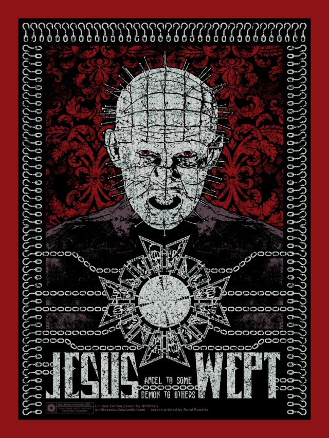 """Jesus Wept"" 4-color screen print on 18x24 Wild Cherry red French Paper Co. cover stock. Printed with a silver metallic ink crackle texture. Edition of 75 signed and numbered prints plus limited Artist's Proofs. Available FIRST at Monster Mania Con 22 this August. Get it HERE."