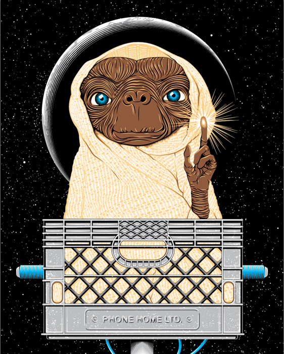 "E.T. for Gauntlet Gallery's first show ""Where We're Going, We Don't Need Roads"""