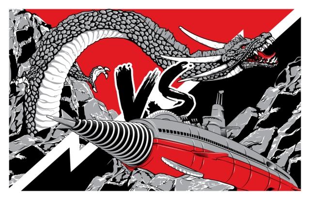 "Atragon VS. Manda. Guzu Gallery's ""Strange Beasts"" Show.  11x17"""