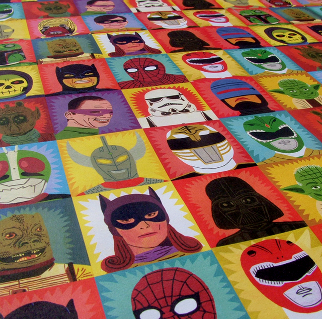 Heroes and Villains wrapping paper