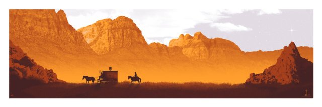 DJANGO UNCHAINED by artist Mark Englert36x12 screen print