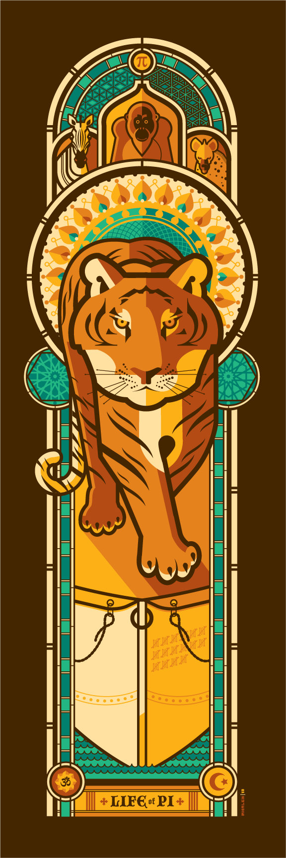 LIFE OF PI by artist Tom Whalen18x24 screen print