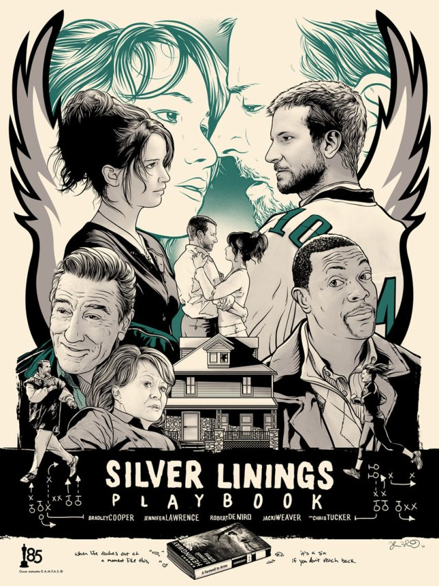 SILVER LININGS PLAYBOOK by artist Joshua Budich18x24 screen print