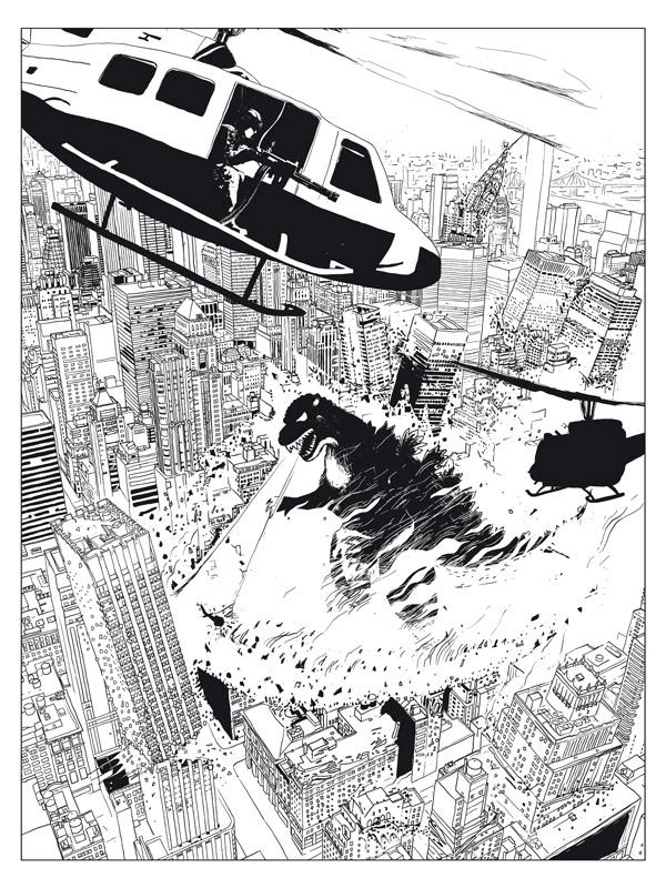 Godzilla_B&W