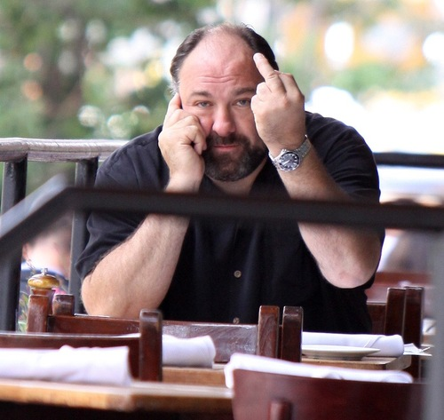 "James Gandolfini pictured having a drink at ""Tribeca Grill"" Restaurant in NYC"