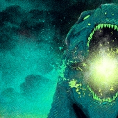 Green and black image of a giant reptile breathing fire