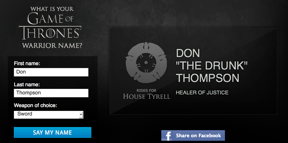 what is your game of thrones warrior name blurppy