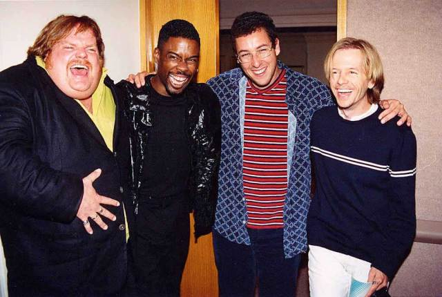 Chris-Farley-Chris-Rock-Adam-Sandler-and-David-Spade-at-the-1994-MTV-Movie-Awards