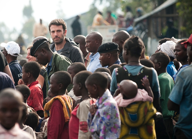 Mugunga III Refugee Camp outside Goma, DRC. Ben Affleck at the camp.