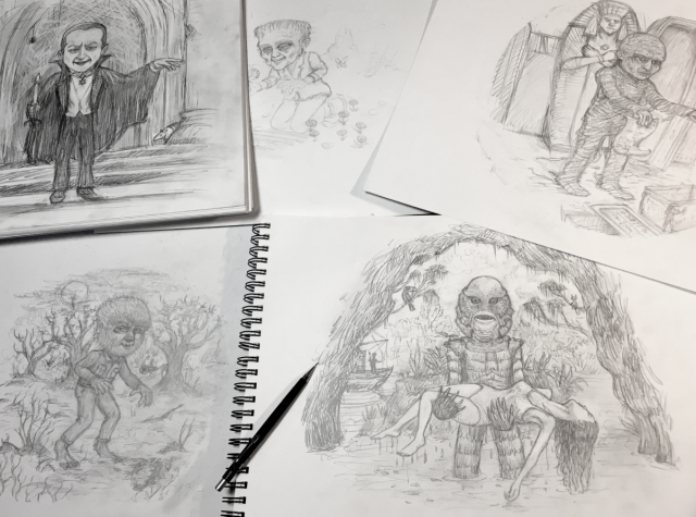 Spusta-universal-monsters-sketches